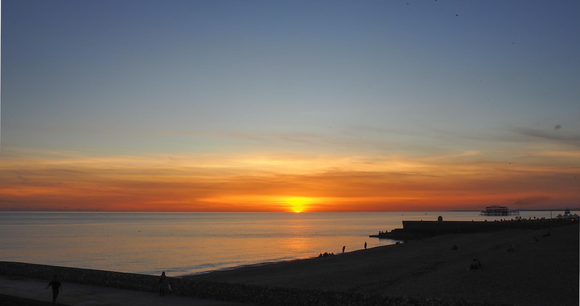 English seaside sunset